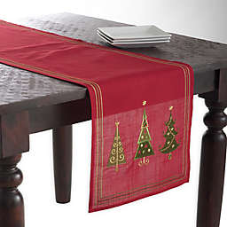 Saro Lifestyle Christmas Tree 70-Inch Table Runner in Red