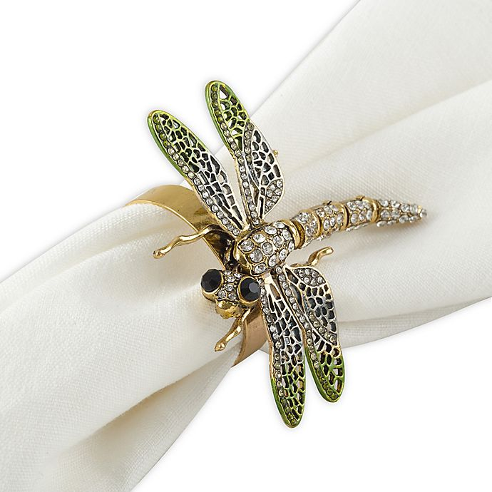 Alternate image 1 for Saro Lifestyle Dragonfly Napkin Rings (Set of 4)