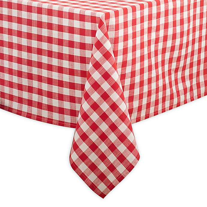 Alternate image 1 for Saro Lifestyle Gingham 72-inch Square Tablecloth in Red