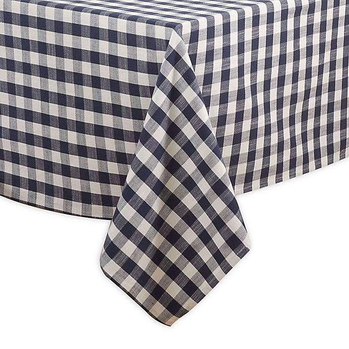Alternate image 1 for Saro Lifestyle Gingham 72-inch Square Tablecloth in Navy