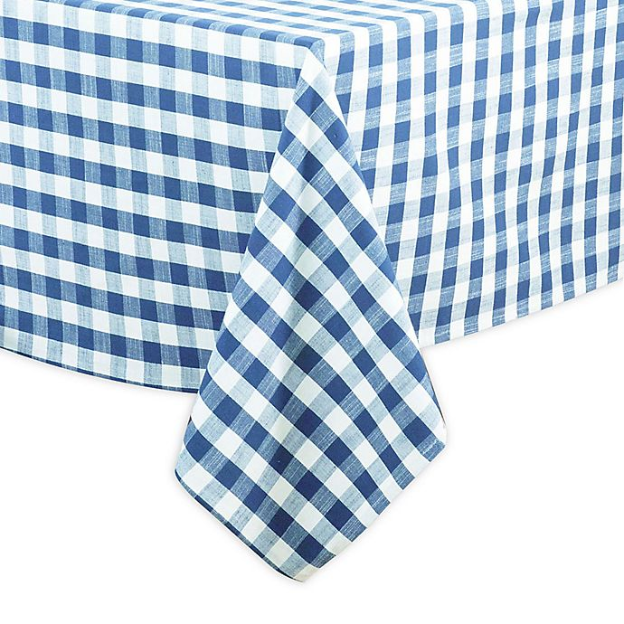Alternate image 1 for Saro Lifestyle Gingham 72-inch Square Tablecloth in French Blue