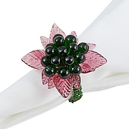 Saro Lifestyle Flower and Leaves Beaded Napkin Rings (Set of 4)