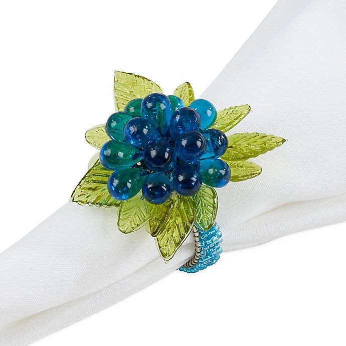 Alternate image 1 for Saro Lifestyle Flower and Leaves Beaded Napkin Rings in Aqua (Set of 4)