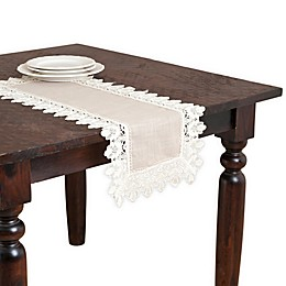 Saro Lifestyle Lace Table Runner in Taupe