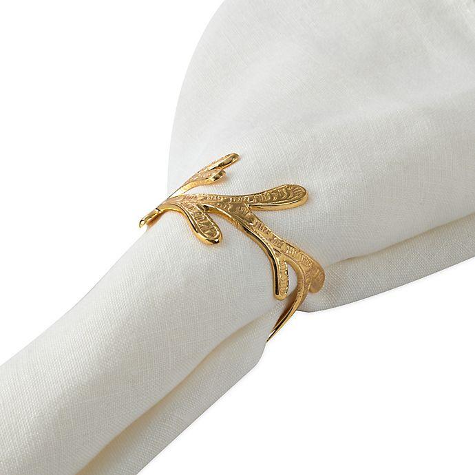 Alternate image 1 for Saro Lifestyle Vine Napkin Rings in Gold (Set of 4)