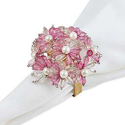 Saro Lifestyle Beaded Floral Bouquet Napkin Rings