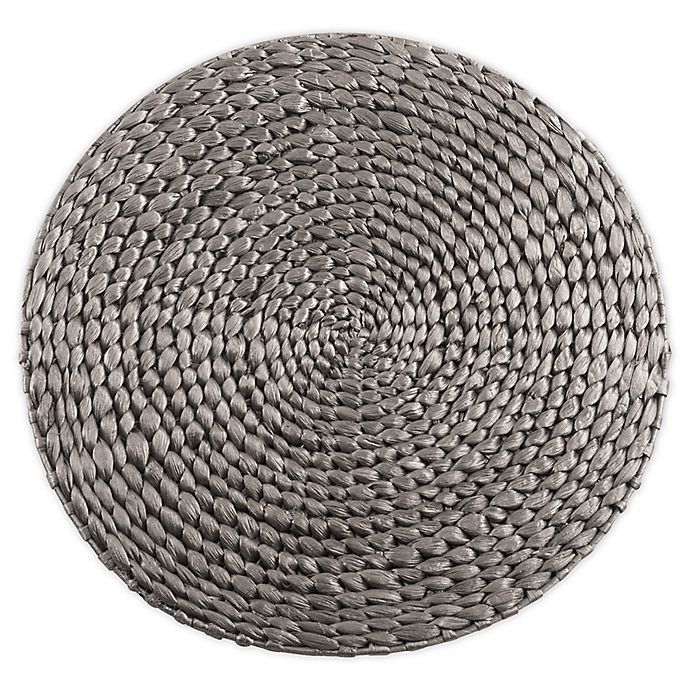 Alternate image 1 for Saro Lifestyle Kailua Hyacinth 15-Inch Round Placemats in Silver (Set of 4)