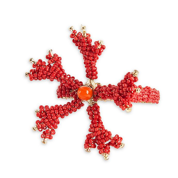 Alternate image 1 for Saro Lifestyle Beaded Napkin Rings in Coral (Set of 4)