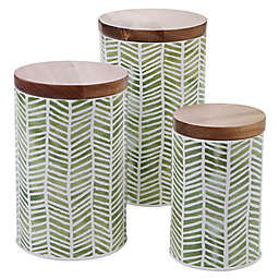 Certified International 3-Piece Mixed Greens Patterns Canister Set