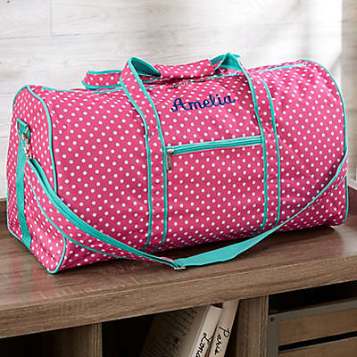 Pink Polka Dot Embroidered Duffel Bag