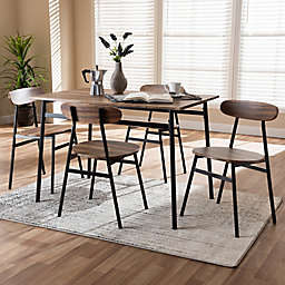 Baxton Studio Darcia 5-Piece Dining Set in Brown/Black