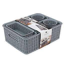 Advantus 10-Piece Weave Bin Organizing Set in Grey