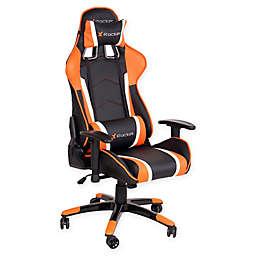 X-rocker® Polyester Swivel Adrenaline Chair in Black/orange