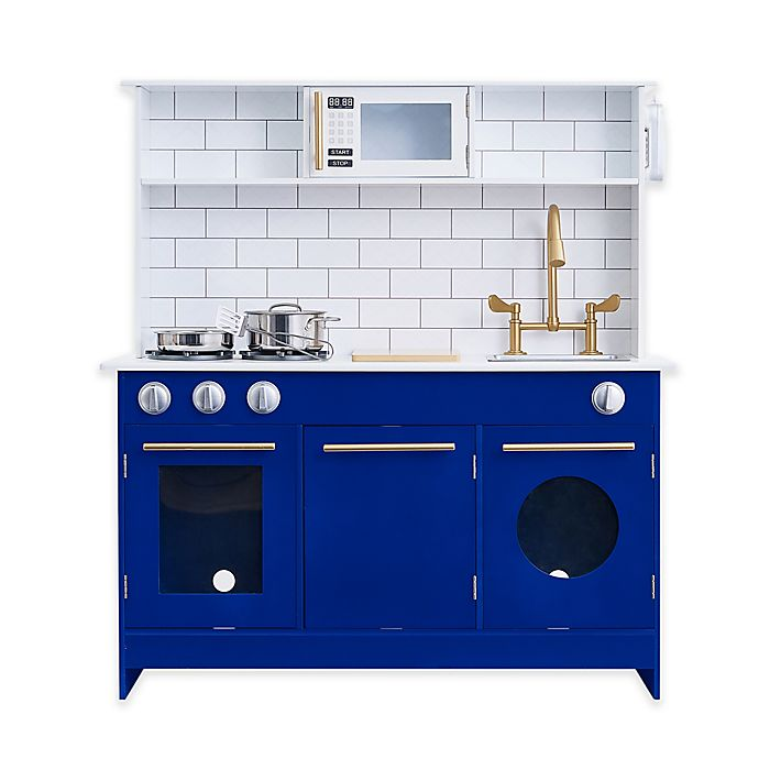 Teamson Kids Berlin Play Kitchen in White/Blue