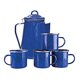Stansport® 8-Cup Percolator Enamel Coffee Pot and Mugs Set