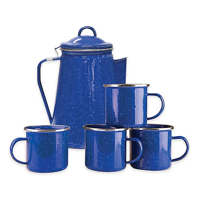 Alternate image 1 for Stansport® 8-Cup Percolator Enamel Coffee Pot and Mugs Set