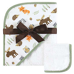 Hudson Baby® Woodland Hooded Towel and Washcloth Set in Brown