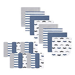 Luvable Friends® 24-Pack Mustaches Washcloths in Blue