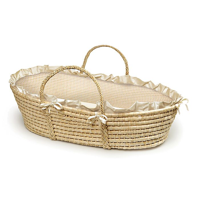 Alternate image 1 for Badger Basket® Maize Moses Basket in Natural with Beige Gingham Bedding