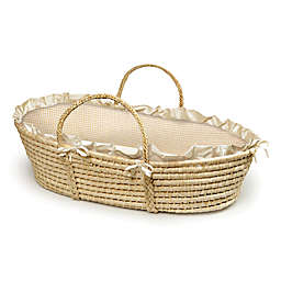 Badger Basket® Maize Moses Basket in Natural with Beige Gingham Bedding