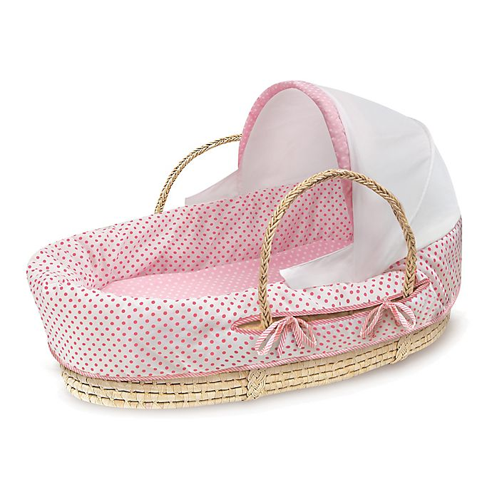 Alternate image 1 for Badger Basket® Fabric Hooded Moses Basket in Pink