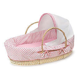 Badger Basket® Fabric Hooded Moses Basket in Pink