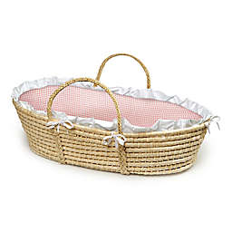 Badger Basket® Maize Moses Basket in Natural with Pink Gingham Bedding