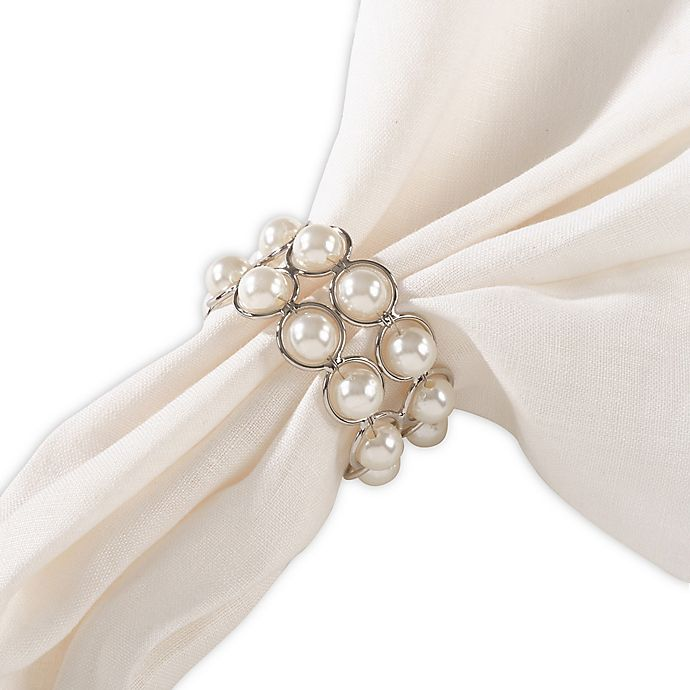 Alternate image 1 for Saro Lifestyle Pearl Beaded Napkin Rings in Ivory (Set of 4)