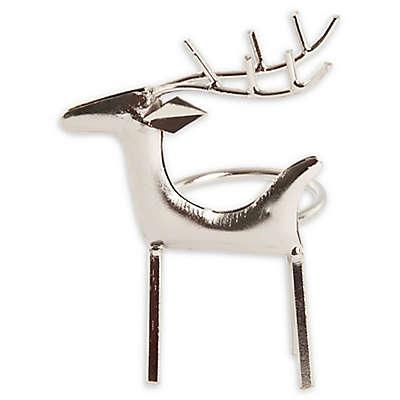 Saro Lifestyle Reindeer Napkin Rings in Silver (Set of 4)