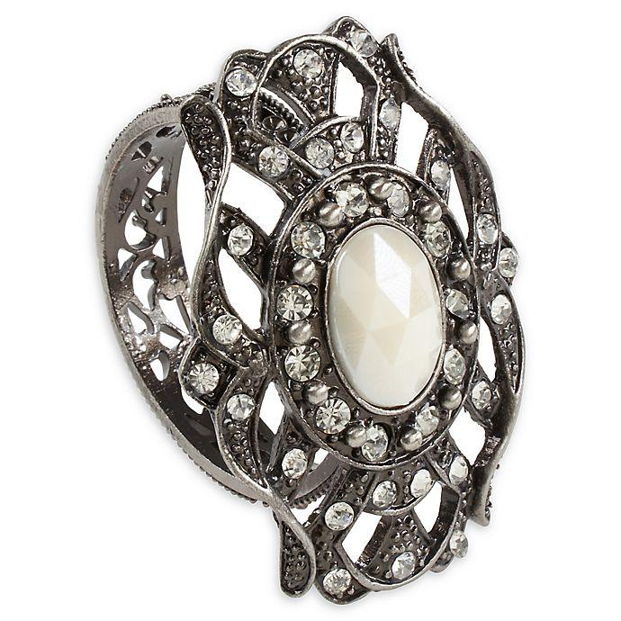 Alternate image 1 for Saro Lifestyle Bejeweled Napkin Rings in Pewter (Set of 4)