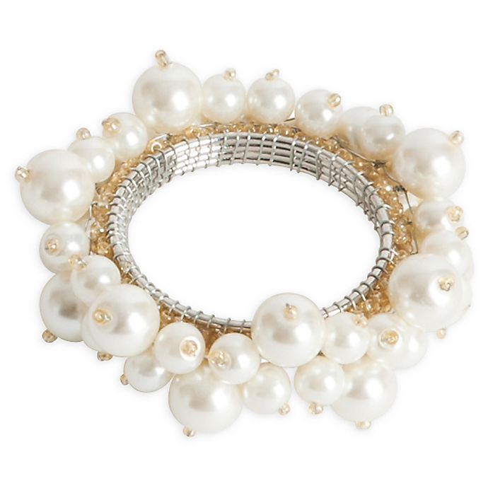Alternate image 1 for Saro Lifestyle Faux Pearl Napkin Rings in Ivory (Set of 4)