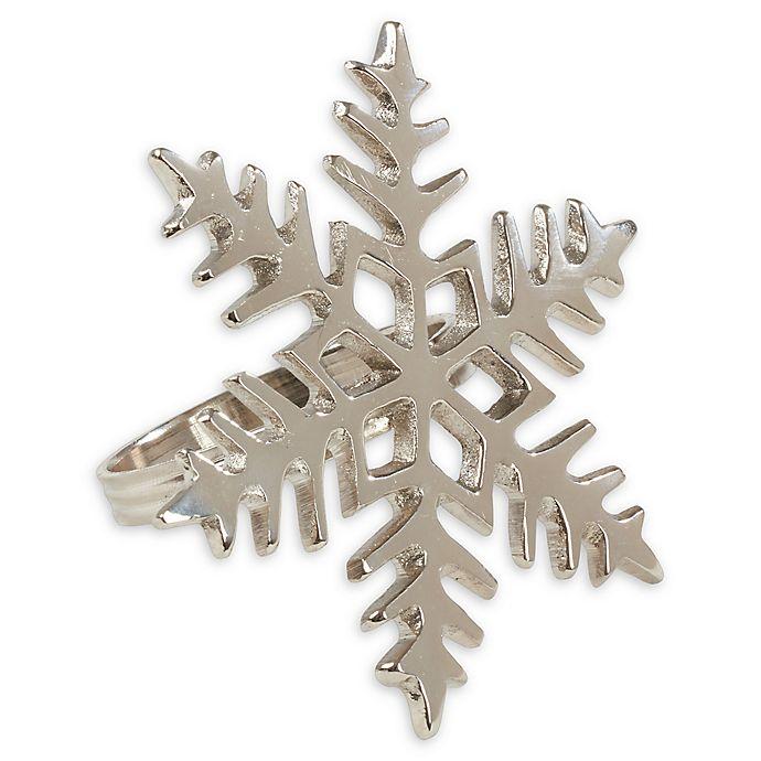 Alternate image 1 for Saro Lifestyle Metal Snowflake Napkin Rings (Set of 4)