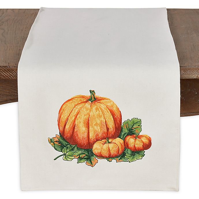 Alternate image 1 for Saro Lifestyle Pumpkin Patch 72-Inch Table Runner in Ivory