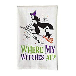 "Love You a Latte Shop ""Where My Witches At?"" Kitchen Towel in White"