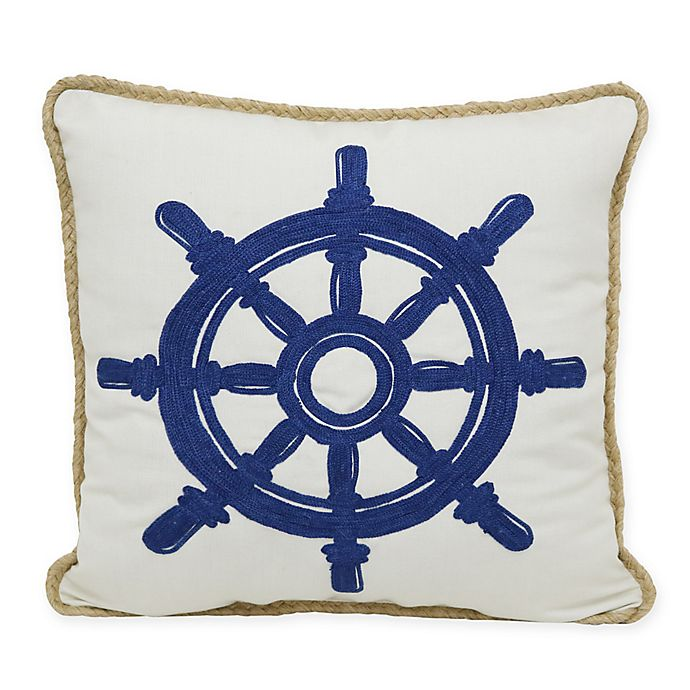 Alternate image 1 for Crewel Ship's Wheel Indoor/Outdoor Square Throw Pillow in Blue/White