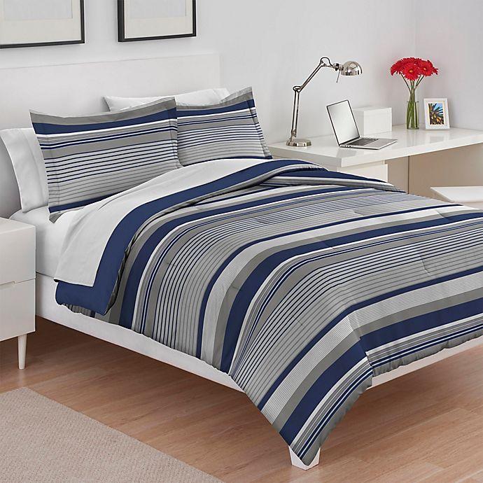Alternate image 1 for IZOD® Collegiate Stripe Reversible Full/Queen Comforter Set in Grey/Blue