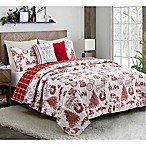Festival Reversible 5-Piece Full/Queen Quilt Set in Ivory/Red