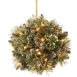 National Tree Company Pre-Lit Glittery Bristle Pine Kissing Ball with LED Lights