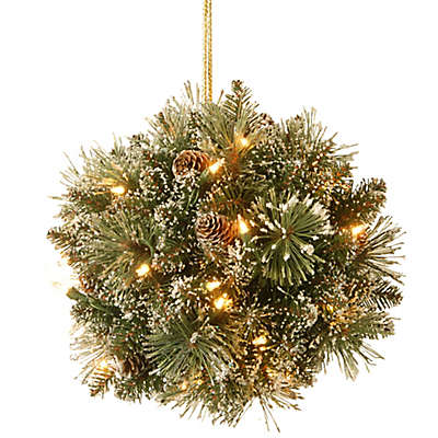 National Tree Company 12-Inch Pre-Lit Glittery Bristle Pine Kissing Ball with LED Lights