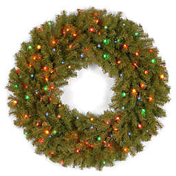National Tree Company 36-Inch Pre-Lit Norwood Fir Wreath with Multicolor Lights