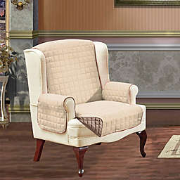 Reversible Wing Chair Furniture Protector in Cream/Taupe