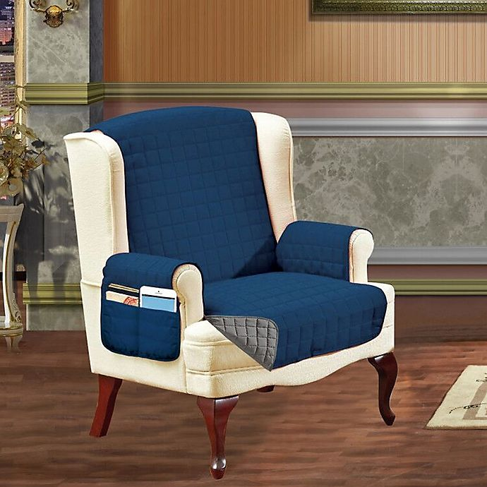 Alternate image 1 for Smart Solid Microfiber Wing Chair Cover in Navy/Grey