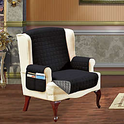 Smart Solid Microfiber Wing Chair Cover