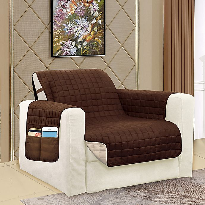 Alternate image 1 for Smart Solid Microfiber Accent Chair Cover in Chocolate/Cream