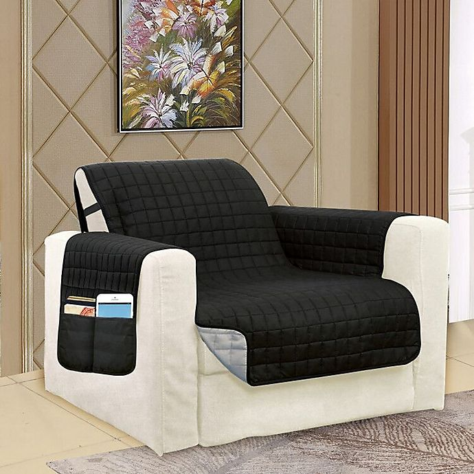 Alternate image 1 for Smart Solid Microfiber Accent Chair Cover in Black/Grey