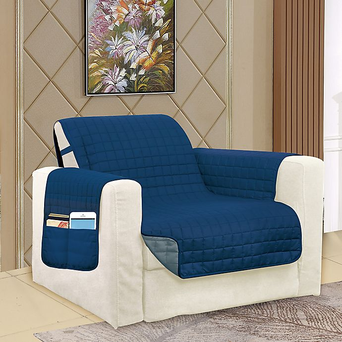 Alternate image 1 for Smart Solid Microfiber Accent Chair Cover in Navy/Grey