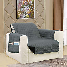 Smart Solid Microfiber Accent Chair Cover in Grey/Black