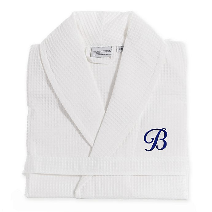Alternate image 1 for Linum Home Textiles Size S/M Waffle Weave Turkish Cotton Unisex Bathrobe in White