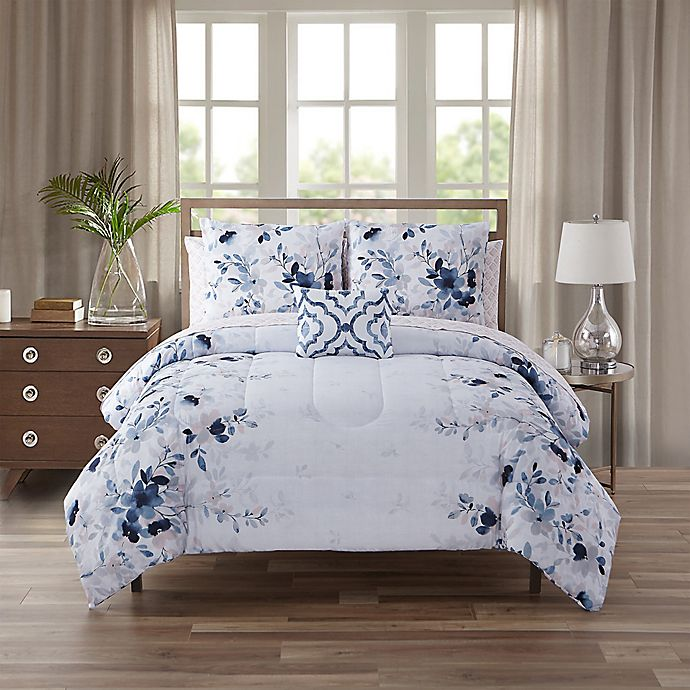 Alternate image 1 for Giselle Queen 12-Piece Comforter Set in Blue