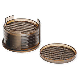 Twillo 7-Piece Round Coaster and Coaster Rack Set in Bronze/Sand